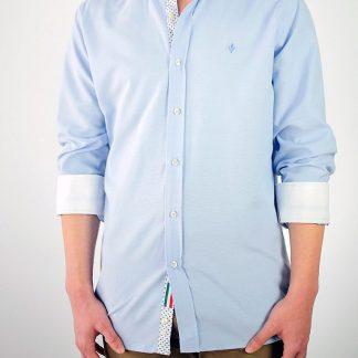 Camisa Donatello Oxford celeste contrastada con Oxford blanco y estampado de diamantes