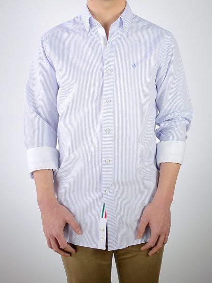 Camisa Donatello Oxford rayas celestes contrastada con Oxford blanco